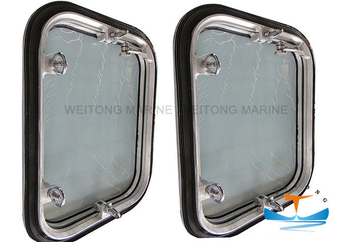 Aluminum Rectangular Porthole Window , Openable Side Scuttles On Ship
